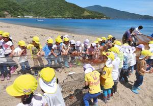 元気に網を引っ張る園児たち 敦賀市の松原海岸で