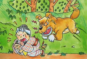 野犬に襲われる場面を描いた原画