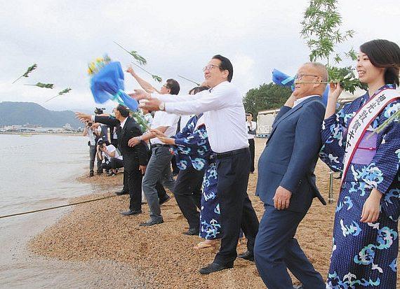気比の松原で楽しい夏を 敦賀観光協会 安全願い海開き式