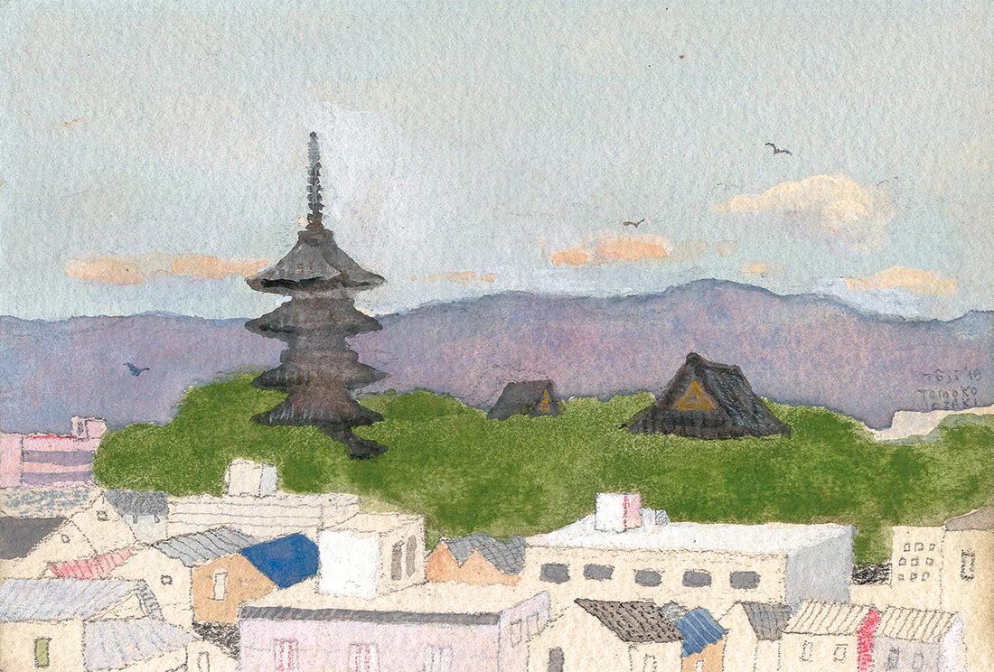 宿泊先からの「東寺」展望