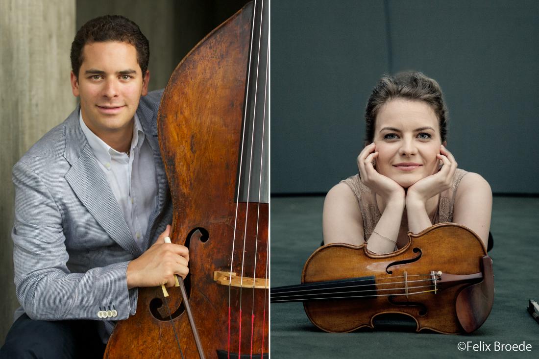 (左) コントラバス / エディクソン・ルイス 、 (右)ヴァイオリン/ ヴェロニカ・エーベルレ