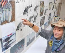 波松の海 釣った魚見て あわらで魚拓など展示