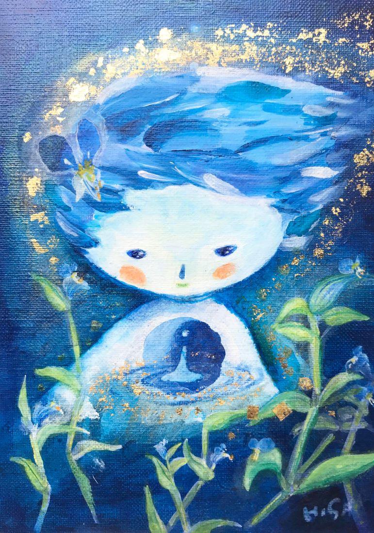 HISA展2020「青い世界」月草と、あしもとの宇宙