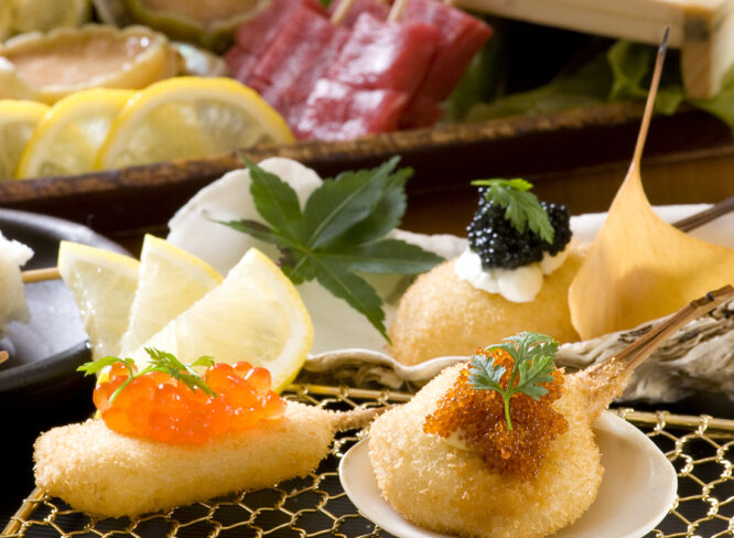 ひと串に美味しいサプライズが凝縮した、大人の串揚げが味わえる『㐂寿』。