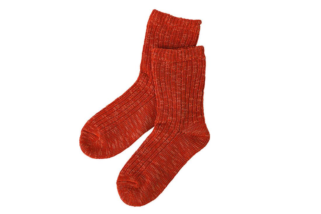 シルクと綿のふっくら二重編みの靴下