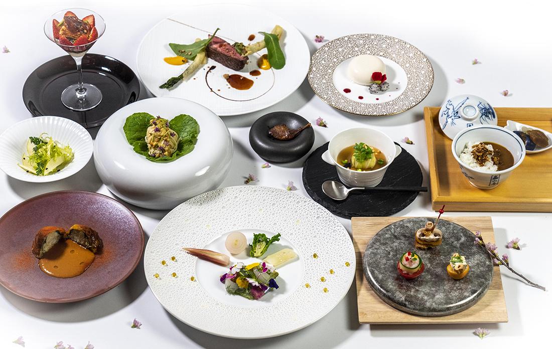 春の福井産鮮魚、真烏賊、帆立のカルパッチョ バジル風味 季節の果実と共に