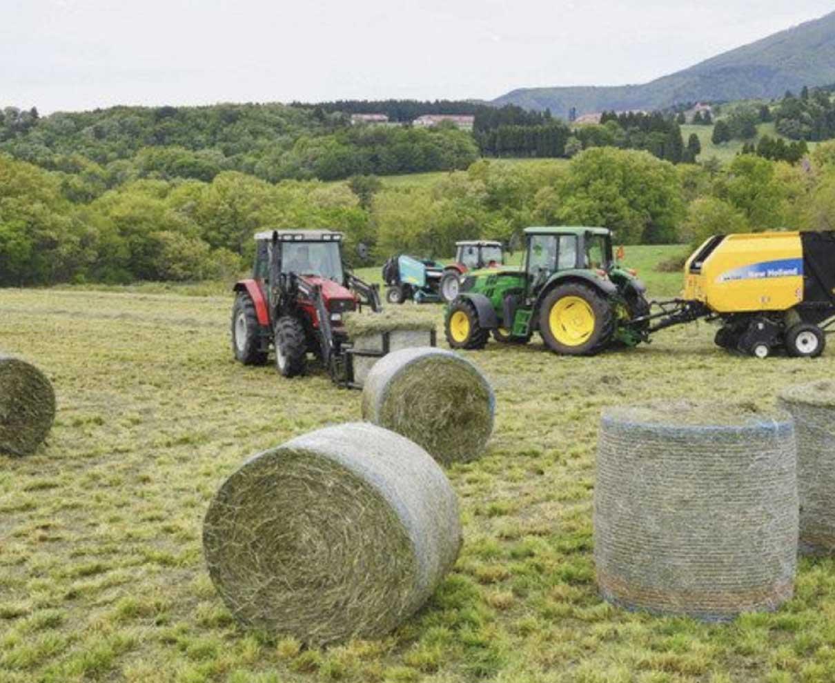 冬のご飯、モ〜準備 県奥越高原牧場で牧草ロール作り