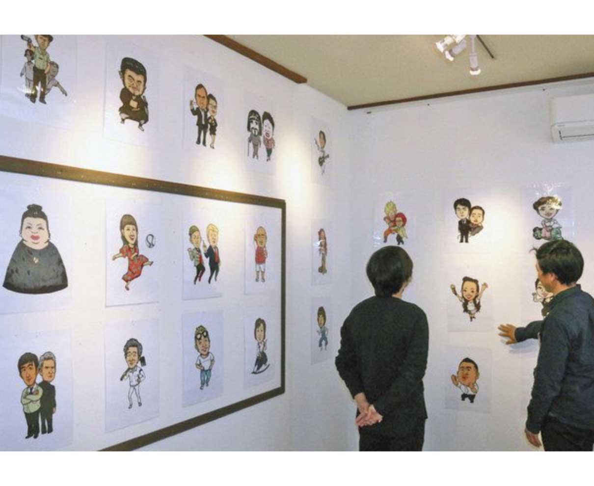 人柄伝わる似顔絵展 高浜の山本さん 「協力隊の私覚えて」
