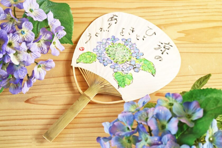 夏の絵手紙教室「ミニうちわに夏の花を描こう」