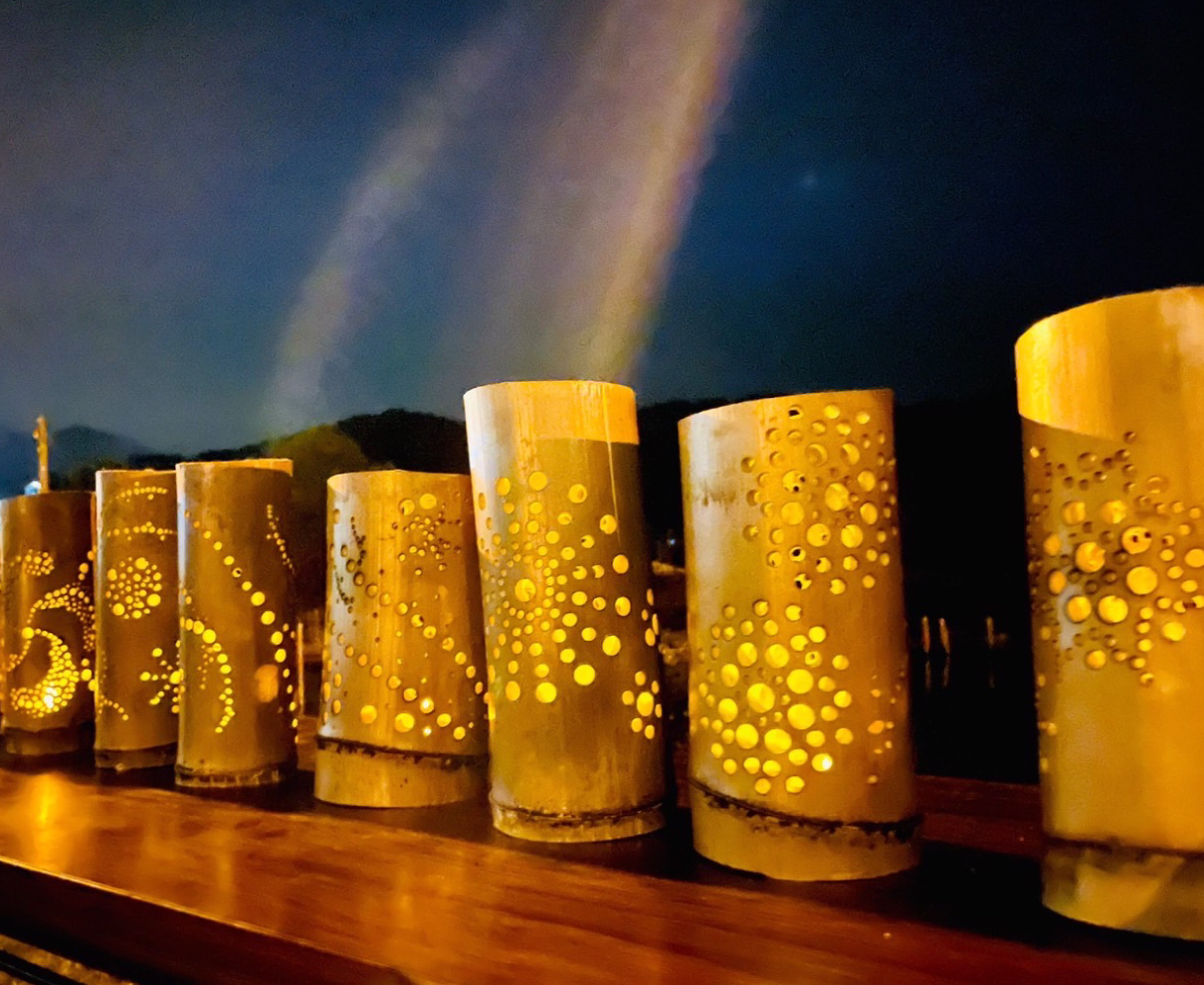 花火と竹灯り|若狭町小川漁港